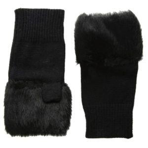 Steve Madden Faux Fur Fingerless HandWarmers Black
